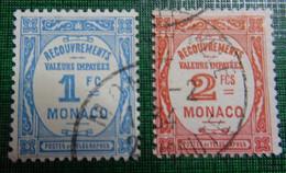 &SVE 35A& MONACO YVERT TAXE 27/28, MICHEL PORTOMARKEN 25,26 VF USED. - Postage Due
