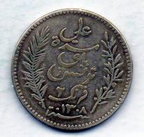 TUNISIA, 2 Francs, Silver, Year 1891-A, KM #225 - Tunesië