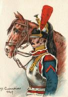 Illustration Pierre Albert Leroux - 7e Cuirassiers En 1807 Avec Son Cheval - Carte B.D. Non Circulée - Uniformi