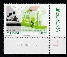 Monaco 2016 : LUXE !!! - N° 3036 - EUROPA 2016 - PENSEZ VERT - NEUF** -  En Coin Daté - - Nuovi