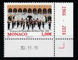 Monaco 2016 : LUXE !!! - N° 3027 - 50 ANS DE L'ORCHESTRE DES CARABINIERS - NEUF** -  En Coin Daté - - Ungebraucht