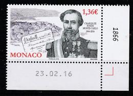 Monaco 2016 : LUXE !!! - N° 3028 - 150 ANS DE LA FONDATION DE MONTE-CARLO - NEUF** -  En Coin Daté - - Ungebraucht