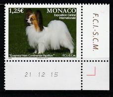 Monaco 2016 : LUXE !!! - N° 3021 - EXPOSITION CANINE - (Epagneul Nain Continental Papillon - NEUF** -  En Coin Daté - - Ungebraucht