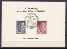 Generalgouvernement - 1941 - Michel Nr. 71 + 82 - Gedenkblatt - Sonderstempel KRAKAU - Besetzungen 1938-45
