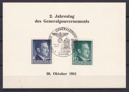 Generalgouvernement - 1941 - Michel Nr. 73 + 80 - Gedenkblatt - Sonderstempel RADOM - Besetzungen 1938-45