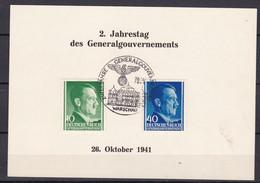 Generalgouvernement - 1941 - Michel Nr. 74 + 81 - Gedenkblatt - Sonderstempel WARSCHAU - Besetzungen 1938-45