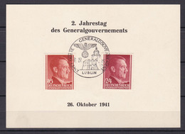 Generalgouvernement - 1941 - Michel Nr. 76 + 78 - Gedenkblatt - Sonderstempel LUBLIN - Besetzungen 1938-45