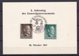 Generalgouvernement - 1941 - Michel Nr. 77 + 80 - Gedenkblatt - Sonderstempel LEMBERG - Besetzungen 1938-45