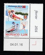 Monaco 2016 : LUXE !!! - N° 3018 - JEUX OLYMPIQUES DE LA JEUNESSE D'HIVER - NEUF** -  En Coin Daté - - Ungebraucht