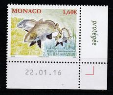 Monaco 2016 : LUXE !!! - N° 3022 - LES ESPÈCES PATRIMONIALES : LE CORB - NEUF** -  En Coin Daté - - Ungebraucht