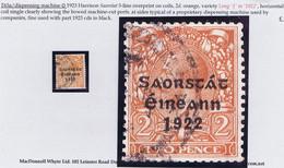 "Ireland 1923 Harrison Coils Saorstat 3-line Ovpt On 2d Orange Var ""Long 1 In 1922"" Used Cds, Shows Typical Perfs From Af - 1922 Governo Provvisorio"