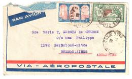 7101PARIS GARES D'AUSTERLITZ Lettre Avion Dest Buenos Aires Arfgentine 10 F Merson 50c 100° Algèrie Yv 207 263 Déchirur - Brieven En Documenten