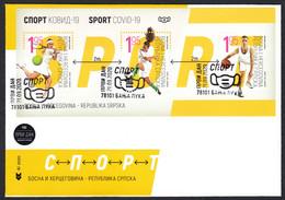 Bosnia Serbia 2020 Sports COVID-19 Tennis Soccer Football Basketball, Block Souvenir Sheet FDC - Malattie