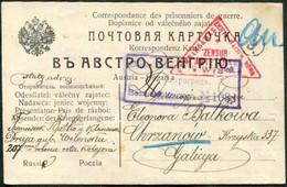 WW1 POW Mail Russia 1916 Censored Card Druja Kriegsgefangenenlager Petrograd Zensur WWI Russland >Austria Galicia Poland - Covers & Documents