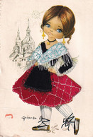 Carte Brodée Illustrateur Gallarda  Espagne Fillette  Recto Verso - Embroidered