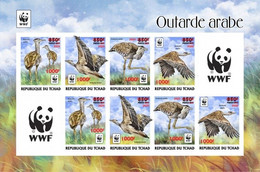 Tchad 2020, WWF, Bird, Overp. Red, Sheetlet Of 10val IMPERFORATED - Neufs