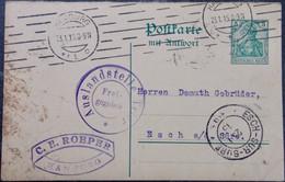 DEUTSCHLAND Ganzsache HAMBURG 1915 Nach Luxemburg Luxembourg Tuchfabrik Esch S. Sûre - Stamped Stationery