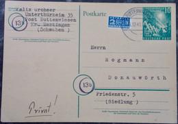 DEUTSCHLAND Ganzsache 1949 BUTTENWIESEN Nach DONAUWÖRTH - Germany