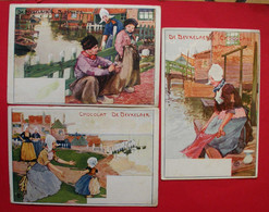 Publicité De Beukelaer 3 Cpa Cartes Postales Chocolat Chocolade Biscuits Dos Scanné Belgique Belgie Malvaux SA - Otros