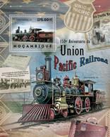 Mozambique, 2012, Union Pacific Railroad, Railways, Locomotive, Train, MNH, Michel Block 680 - Mozambique