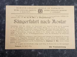 BOSNIA Sarajewo Stationery Postcard SÄNGERFAHRT NACH MOSTAR 1899 - Bosnia And Herzegovina
