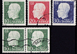 SE148 – SUEDE – SWEDEN – 1948 – 90th ANNIVERSARY OF KING GUSTAV V – Y&T 341/343 USED - Used Stamps