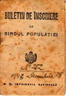 Romania, 1943, Vintage Identity Card / ID - Kingdom Period - Ramnicu Sarat - Documentos Históricos