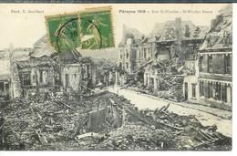 Cpa 80 Péronne , Ww1 , La Rue Saint Nicolas , Voyagée 1920 - Manoeuvres