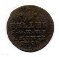 GERMAN STATES - SAXE-WEIMAR-EISENACH, 1 Heller, Copper, Year 1758, KM #C9 - Kleine Munten & Andere Onderverdelingen