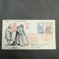 FRANCE Enveloppe CROIX ROUGE 1957 FDC 1er Jour - Collection Timbre Poste - 1950-1959