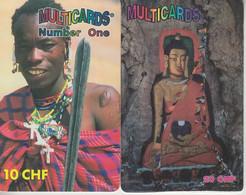 SWITZERLAND - PHONE CARD - PREPAIDS SUISSE ***  2 X MULTICARDS - JEUNES FEMMES 2 *** - Personnages