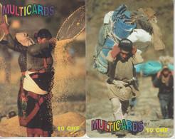 SWITZERLAND - PHONE CARD - PREPAIDS SUISSE ***  2 X MULTICARDS - HOMME & FEMME 2 *** - Personnages