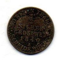GERMAN STATES - SAXE-WEIMAR-EISENACH, 1/2 Silber Groschen, Silver, Year 1840, KM #C85 - Kleine Munten & Andere Onderverdelingen