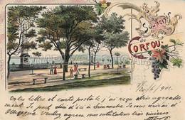 OLD POSTCARD -  LITHO - GRECIA - SOUVENIR DE CORFOU - INTERO POSTALE , VIAGGIATA 1901 - T68 - Greece