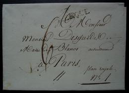 57 / DUNKERQUE , 1816 Marque Noire  Sur Une Lettre Pour Paris, Cachet C.6 Au Revers, Sans Correspondance - 1801-1848: Precursores XIX