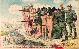 CPA. Anti-allemand - Sur Les Lignes De Feu, Ils Sont D'un Grand Courage - Bouclier Humain De Femmes Nues - Par R.Boby - - War 1914-18