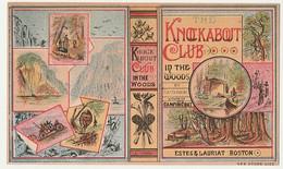1800's Victorian American Trade Card Zig-Zag Books Travel Guides Tibbits Estes Boston Chromo Américaine - Andere