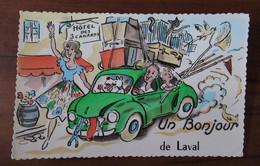 Un Bonjour De Laval - Automobile, Voiture Coccinelle? Devant L'Hotel Des 3 Canards - Chat, Chien - Laval
