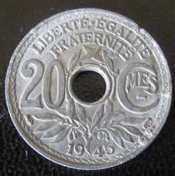France - Monnaie 20 Centimes Lindauer 1945 En Zinc - Francia