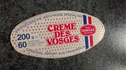 """Couvercle Boite Fromage -   """" CREME DES VOSGES """" 60 % MAT G - Dosen"""
