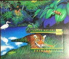 United Nations New York 1998 Rainforest Jaguar Birds Butterflies Animals Minisheet MNH - Felini