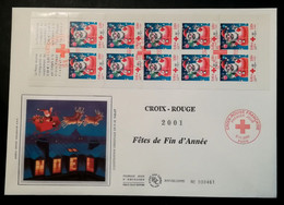 FDC - Grand Format Premier Jour - CROIX ROUGE 2001 - Fêtes De Fin D'Année Carnet - 2000-2009