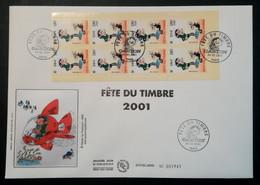 FDC - Grand Format Premier Jour - GASTON  - Fête Du Timbre 2001 - Carnet - 2000-2009