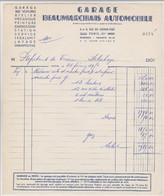 FACTURE 28 FÉVRIER 1951 GARAGE BEAUMARCHAIS AUTOMOBILES PARIS - Mr RIGAUT VOITURE DELAHAYE PAPETERIE De FRANCE - Cars