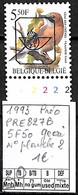 [843125]TB//**/Mnh-Belgique 1993 - PRE827B, 5f50 Geai, N° Planche 2, Oiseaux, Animaux - Typo Precancels 1986-..(Birds)