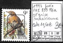 [843145]TB//**/Mnh-c:12e-Belgique 1993 - PRE833P6a, 9f Grive Musicienne, Oiseaux, Animaux, SNC - Typo Precancels 1986-..(Birds)