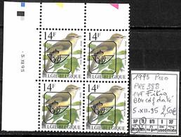 [843156]TB//**/Mnh-Belgique 1995 - PRE838, 14f Fitis, Bd4, Cdf Daté, 5.XII.95, Oiseaux, Animaux - Typo Precancels 1986-..(Birds)