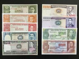 BOLIVIA SET 10 50 100 500 1000 5000 10000 50000 100000 BOLIVIANOS BANKNOTES UNC - Bolivia