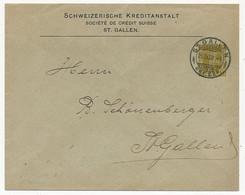 SUISSE - Enveloppe (Entier Postal PRIVÉ) 2c Guillaume TELL - Société De Crédit Suisse - Depuis St Gallen - 25/4/1908 - Postwaardestukken