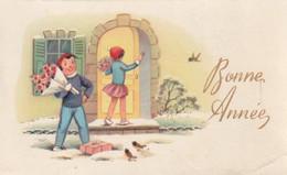 190 - MIGNONETTE MIGNONNETTE BONNE ANNEE GARCON FILLETTE BOUQUETS DE FLEURS OISEAUX CADEAU PAYSAGE ENNEIGE - Neujahr